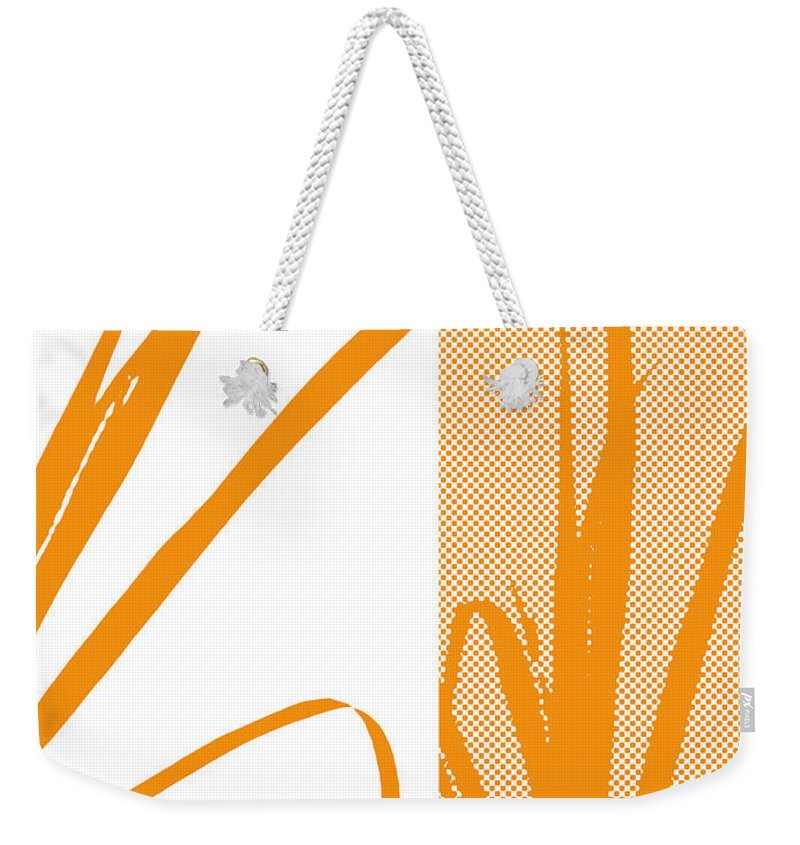 Abstract Weekender Tote Bag featuring the digital art Orange Palm by Ruth Palmer