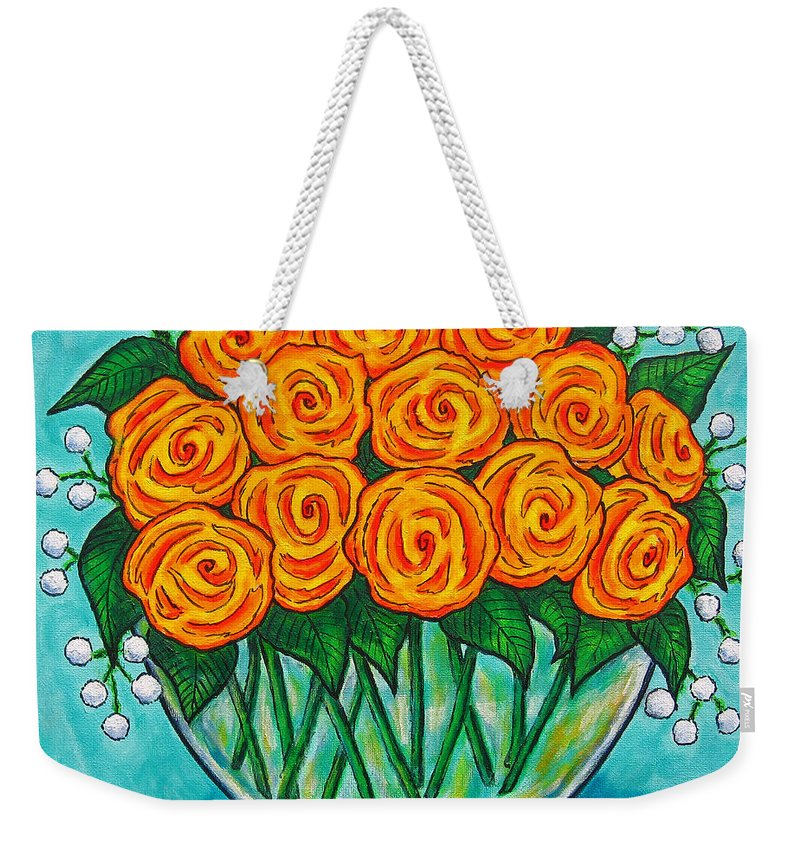 Orange Weekender Tote Bag featuring the painting Orange Passion by Lisa Lorenz