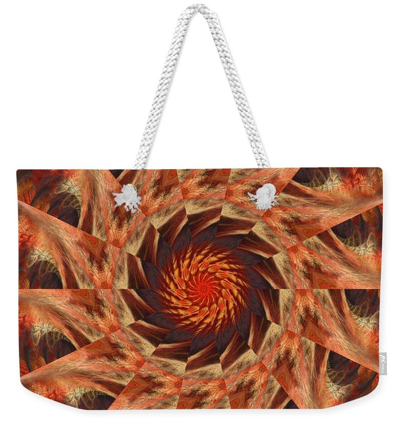 Digital Weekender Tote Bag featuring the digital art Orange Pinwheel by Deborah Benoit