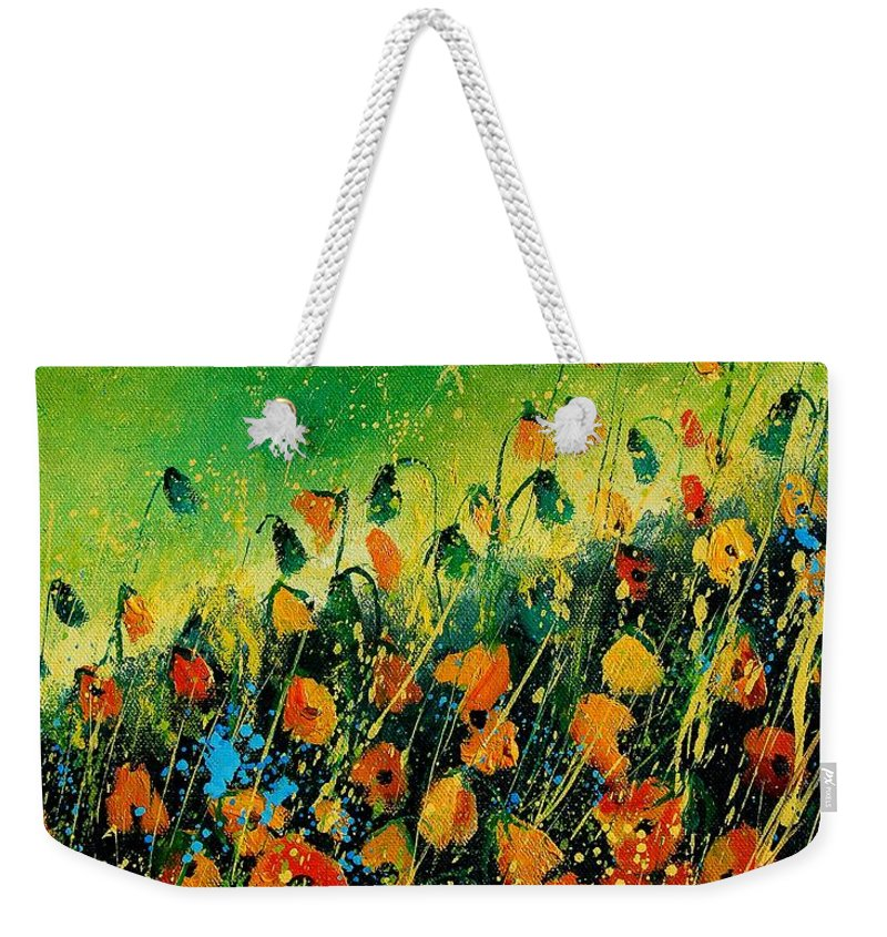 Poppies Weekender Tote Bag featuring the painting Orange Poppies 459080 by Pol Ledent