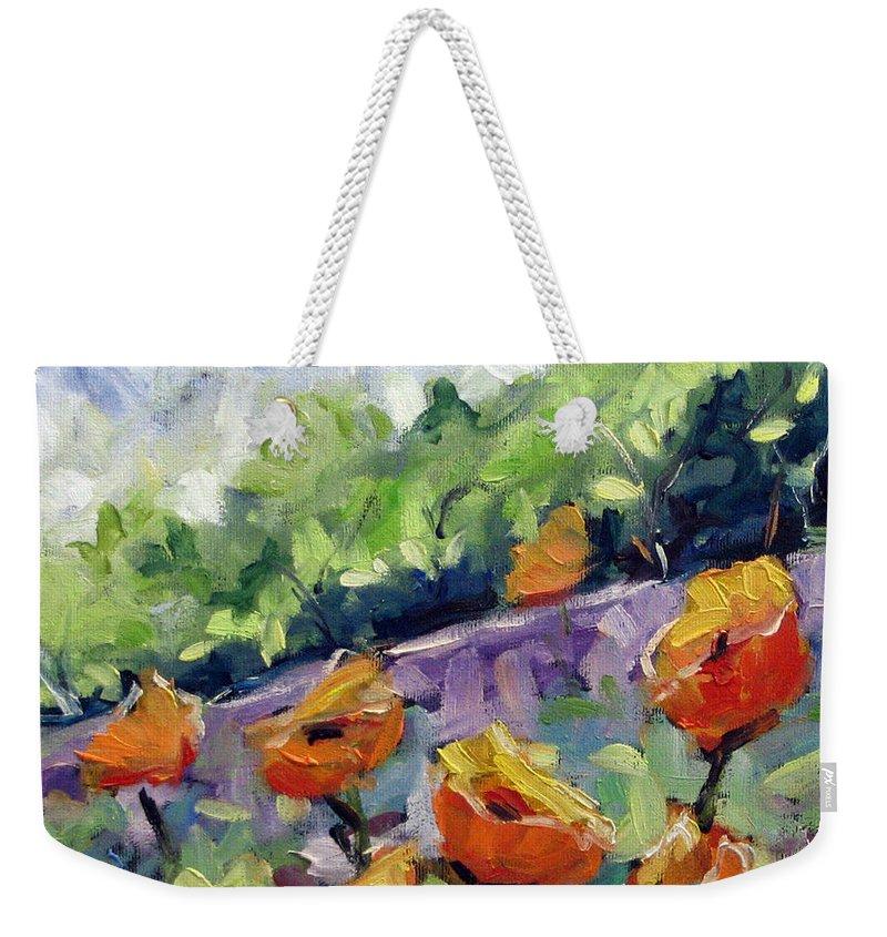 Art Weekender Tote Bag featuring the painting Orange Poppies by Richard T Pranke