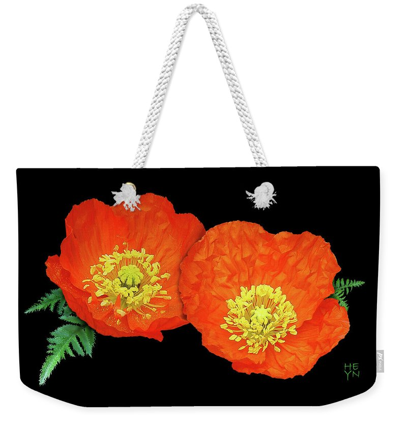 Cutout Weekender Tote Bag featuring the photograph Orange Poppy Collage Cutout by Shirley Heyn
