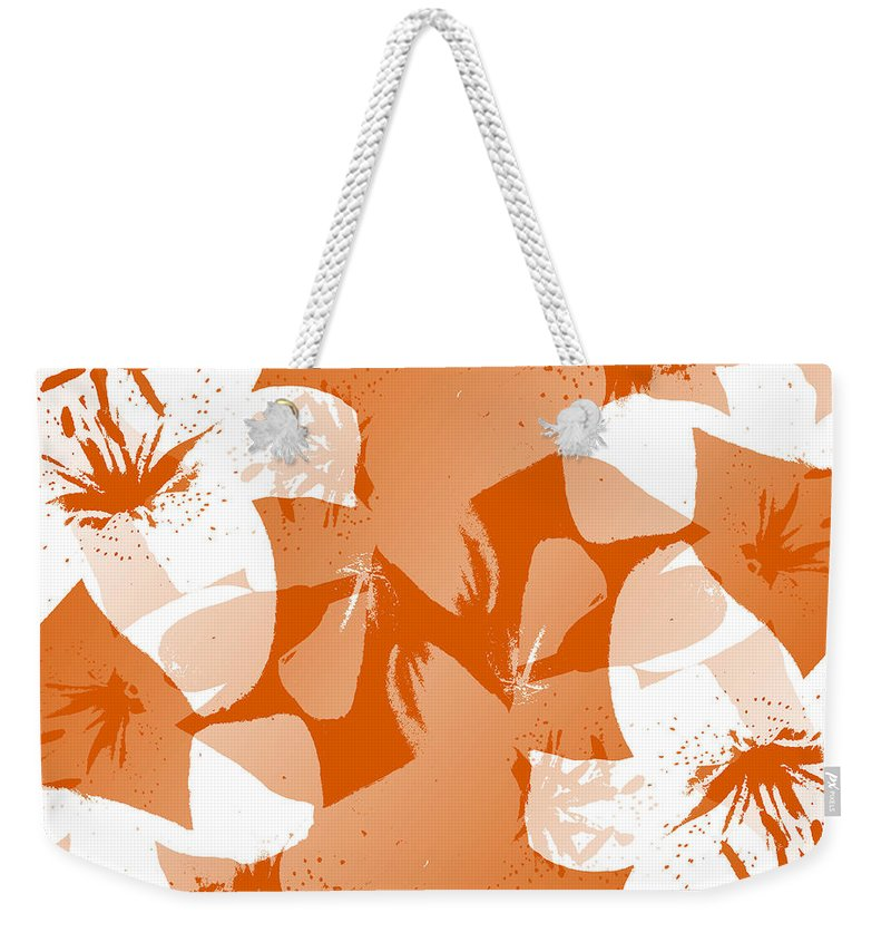 Botanical Weekender Tote Bag featuring the digital art Orange Poster Lilies by Ruth Palmer
