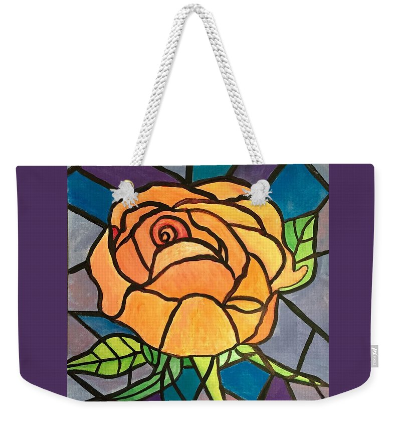 Stained Glass Weekender Tote Bag featuring the painting Orange Rose by Anne Sands