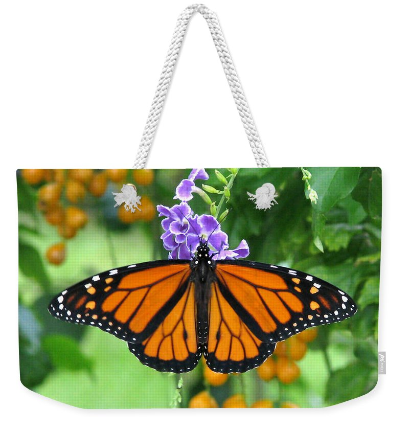 Monarch Weekender Tote Bag featuring the photograph Orange Splendour by Peg Urban