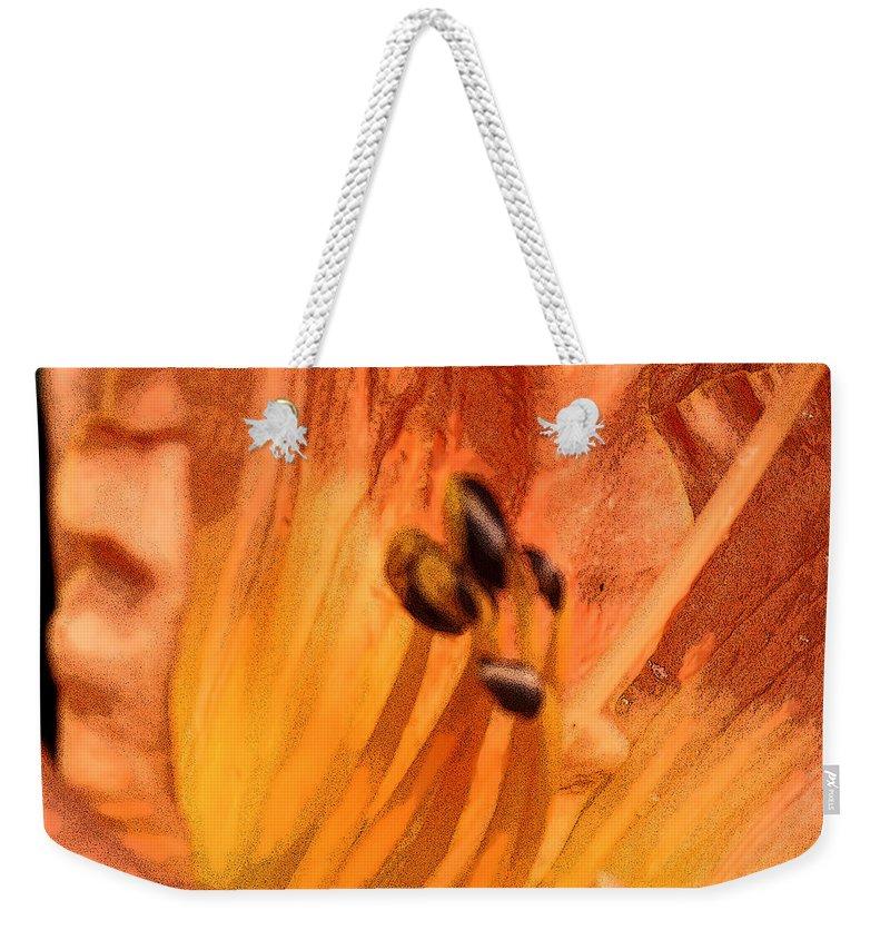 Orange Weekender Tote Bag featuring the digital art Orange Streaming by Ian MacDonald