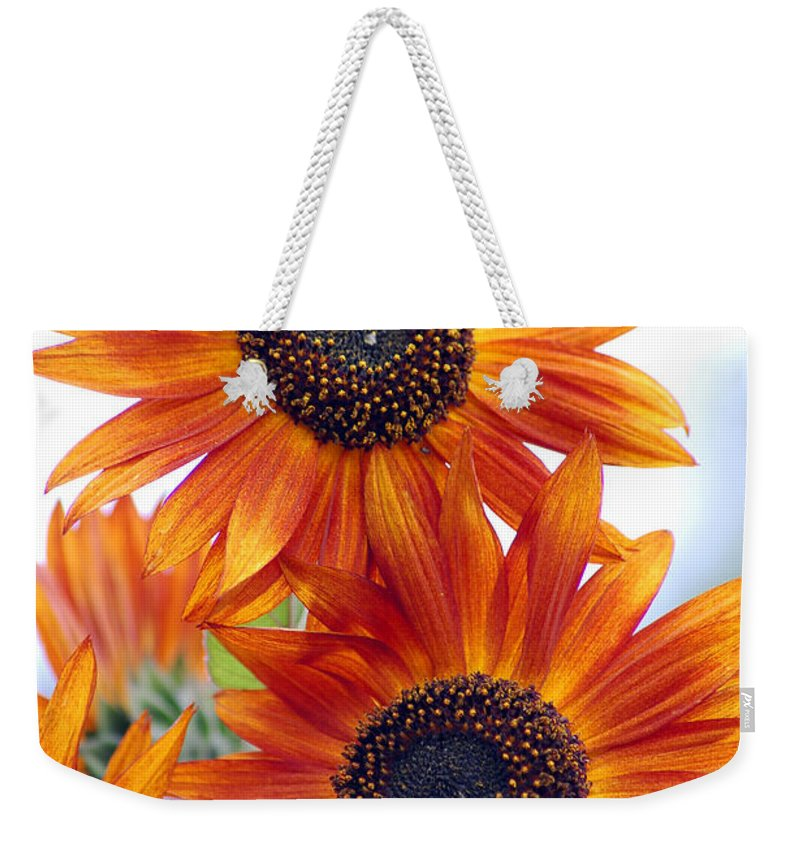Sunflower Weekender Tote Bag featuring the photograph Orange Sunflower 2 by Amy Fose