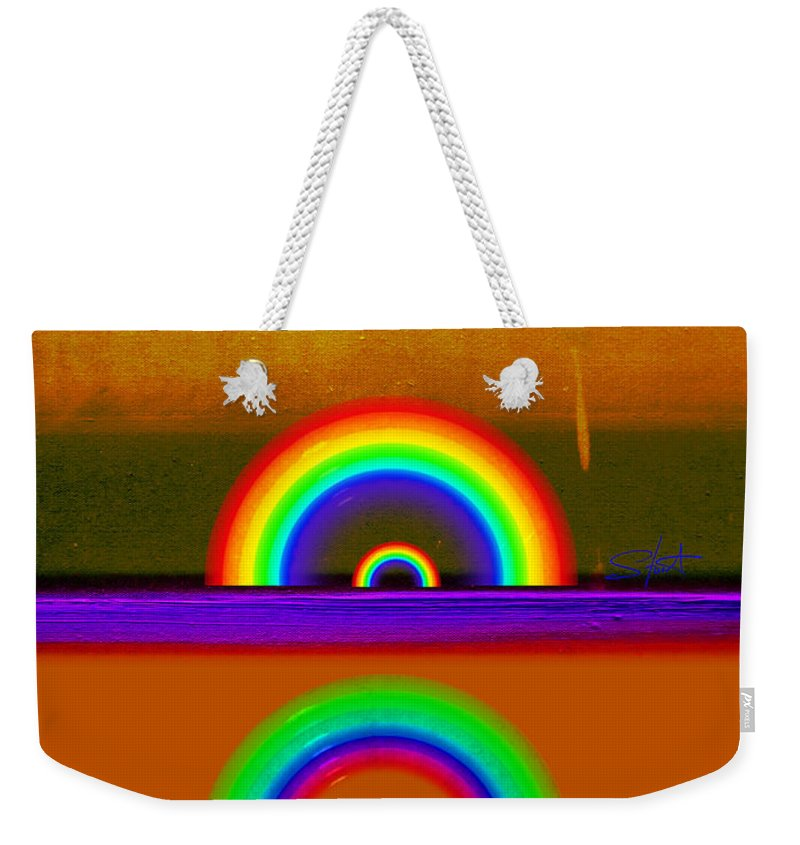Orange Weekender Tote Bag featuring the painting Orange Sunset by Charles Stuart