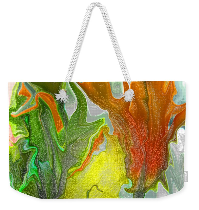 Abstract Weekender Tote Bag featuring the photograph Orange Tulip by Kathy Moll