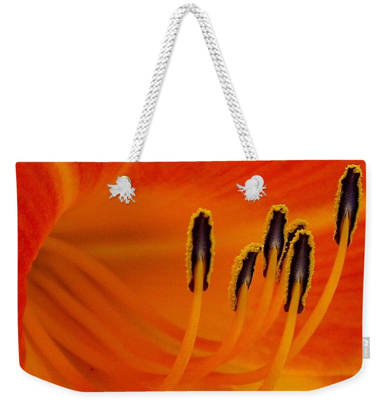 Floral Weekender Tote Bag featuring the photograph Orange You Glad by Marla McFall