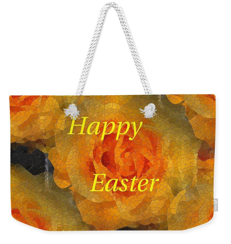 Easter Weekender Tote Bag featuring the digital art Orange You Lovely Easter by Tim Allen