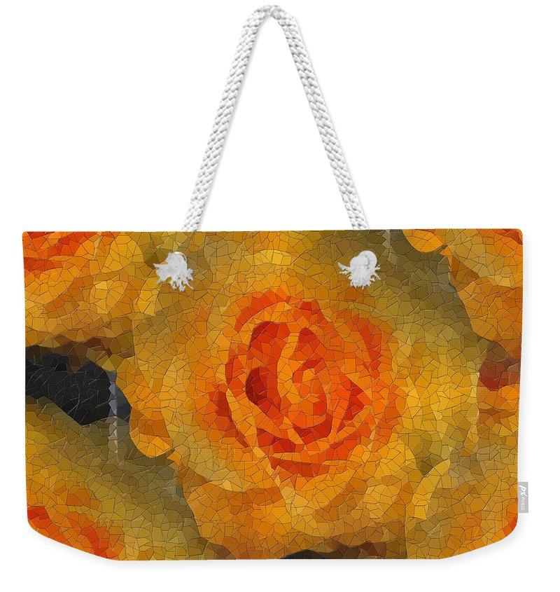 Flower Weekender Tote Bag featuring the digital art Orange You Lovely by Tim Allen