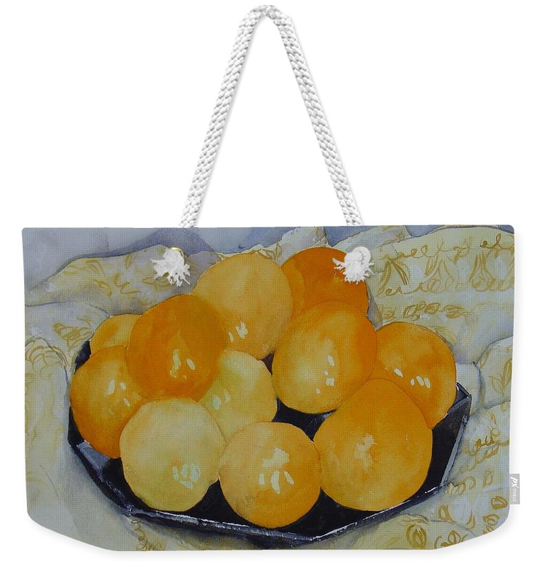 Still Life Watercolor Original Leilaatkinson Oranges Weekender Tote Bag featuring the painting Oranges by Leila Atkinson