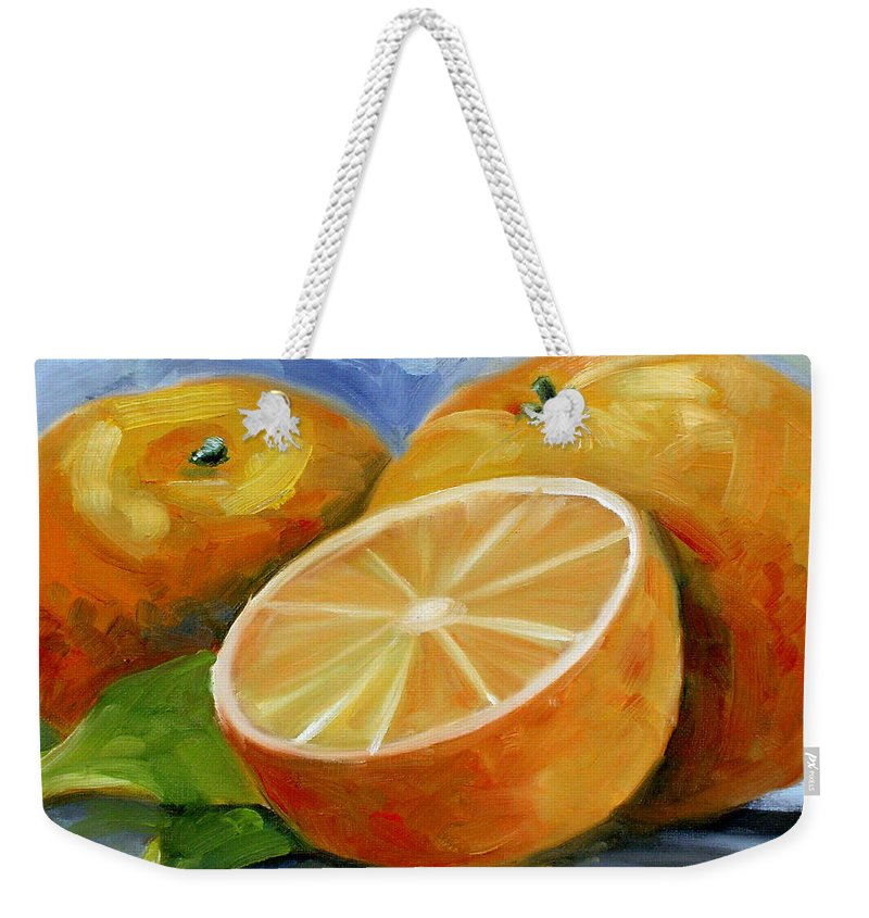 Fruit Weekender Tote Bag featuring the painting Oranges by Lewis Bowman