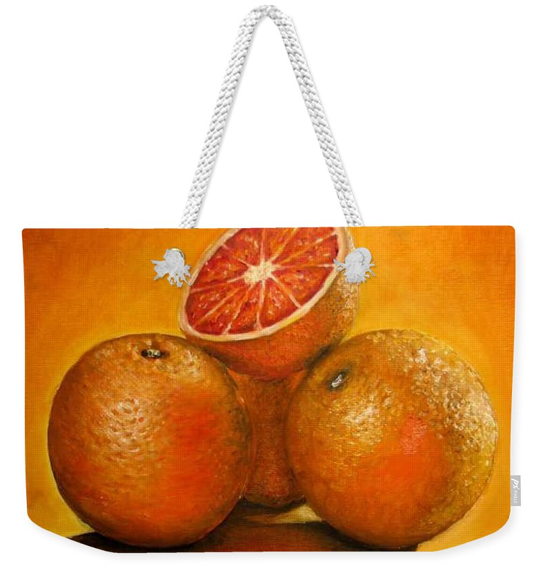Oranges Weekender Tote Bag featuring the painting Oranges original oil painting by Natalja Picugina