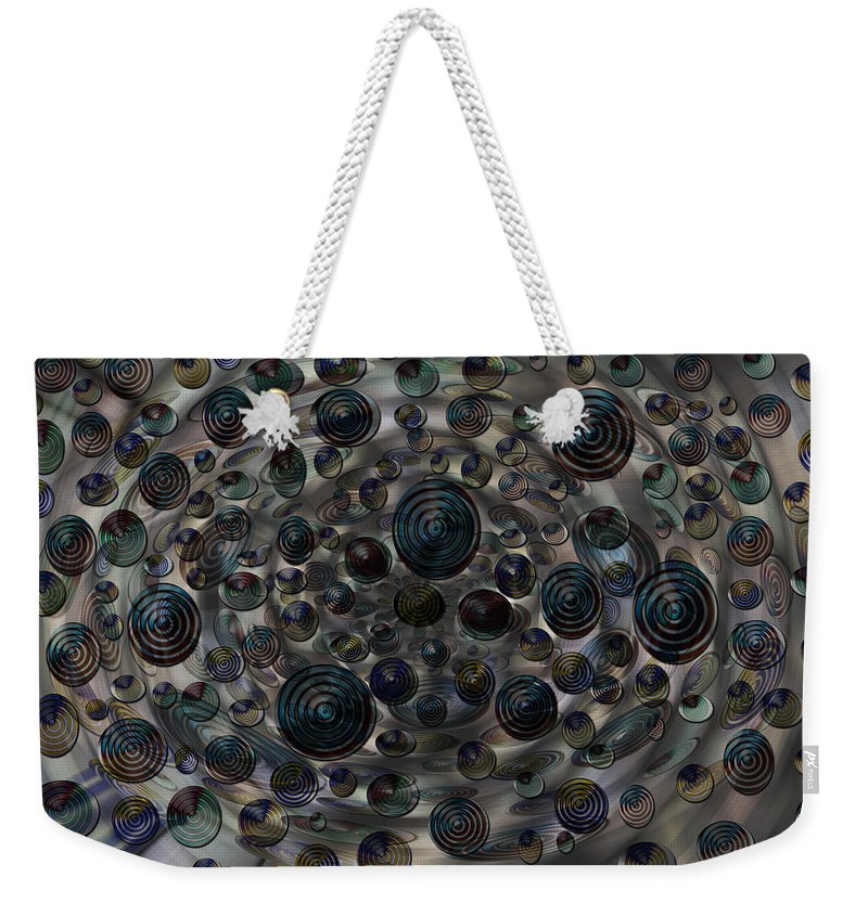 Planets Stars Solar System Orbs Freaky Abstract Colors Colourful Digital Art Weird Fading Weekender Tote Bag featuring the digital art Orbs by Andrea Lawrence