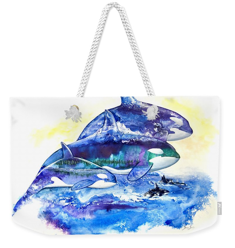 Orca Weekender Tote Bag featuring the painting Orca Fantasy by Sherry Shipley