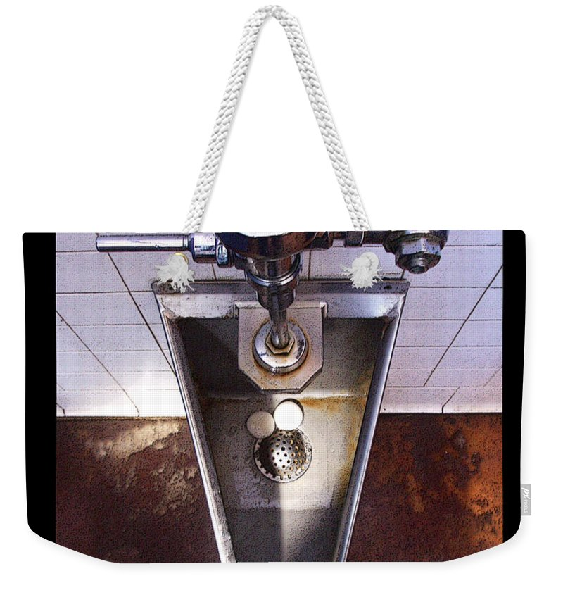 Urinal Weekender Tote Bag featuring the photograph Orcas Island Urinal by Tim Nyberg
