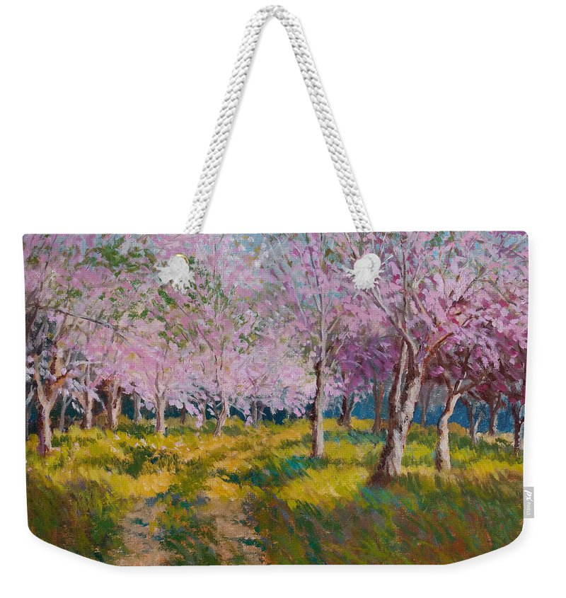 Impressionism Weekender Tote Bag featuring the painting Orchard Light by Keith Burgess