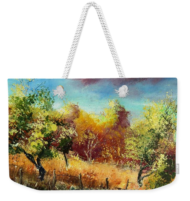 Flowers Weekender Tote Bag featuring the painting Orchard by Pol Ledent
