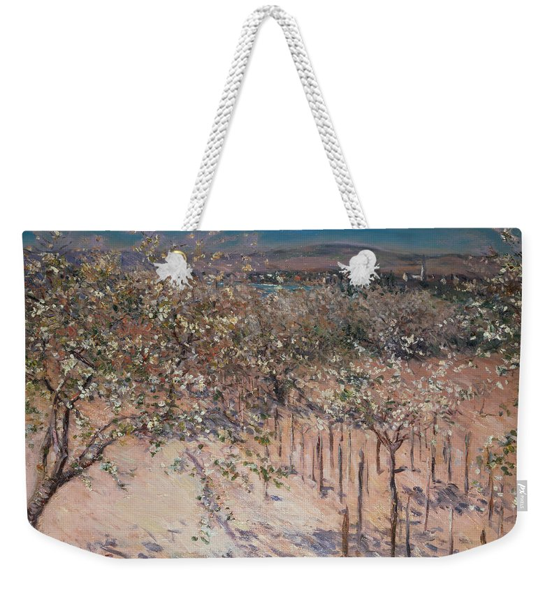 Orchard With Flowering Apple Trees Weekender Tote Bag featuring the painting Orchard With Flowering Apple Trees by Gustave Caillebotte