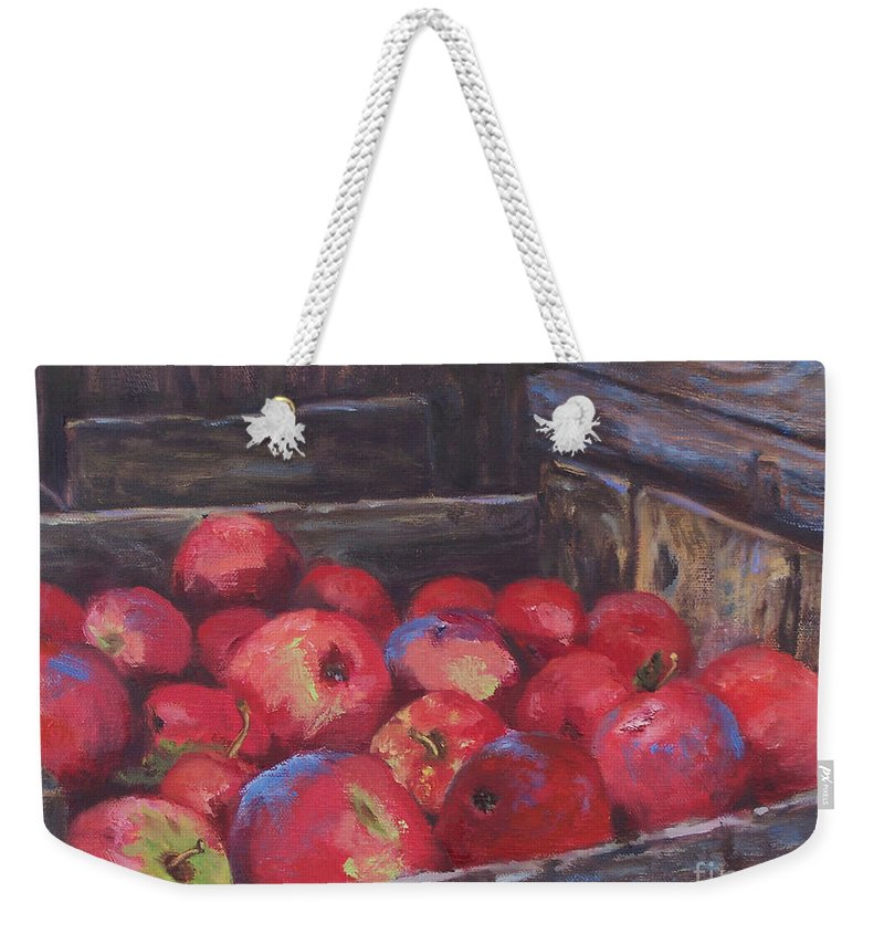 Apples Weekender Tote Bag featuring the painting Orchard's Harvest by Alicia Drakiotes