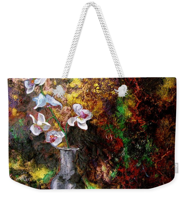 Orchid Art Beautiful Art Weekender Tote Bag featuring the painting Orchid 1 by Laura Pierre-Louis