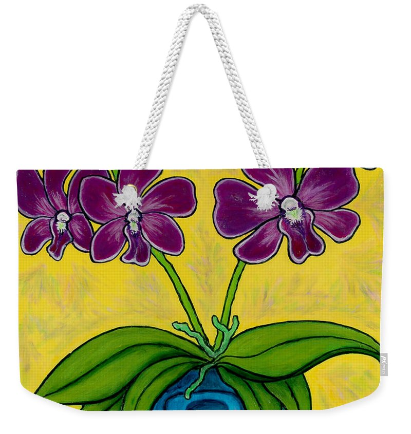 Orchids Weekender Tote Bag featuring the painting Orchid Delight by Lisa Lorenz