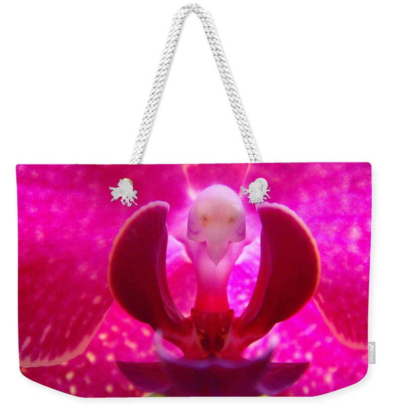 Orchid Weekender Tote Bag featuring the photograph Orchid Genie by Donna Blackhall