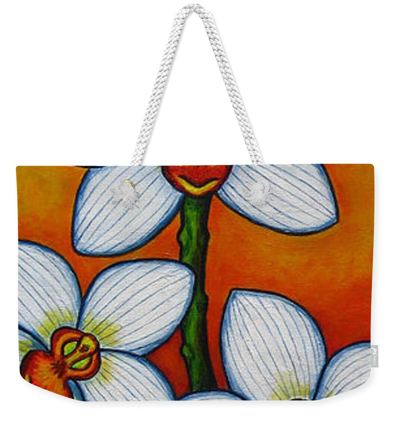 Orchids Weekender Tote Bag featuring the painting Orchid Oasis by Lisa Lorenz
