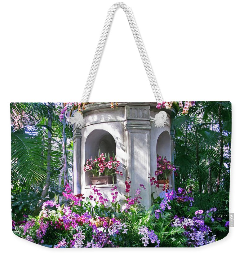 Flowers. Floral Weekender Tote Bag featuring the photograph Orchid Paradise by Jessica Jenney