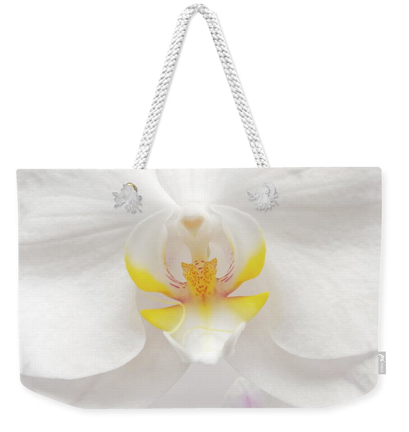 White Weekender Tote Bag featuring the photograph Orchid by Wim Lanclus