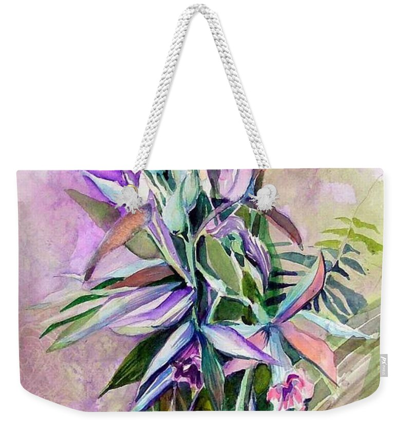 Orchids Weekender Tote Bag featuring the painting Orchids- Botanicals by Mindy Newman