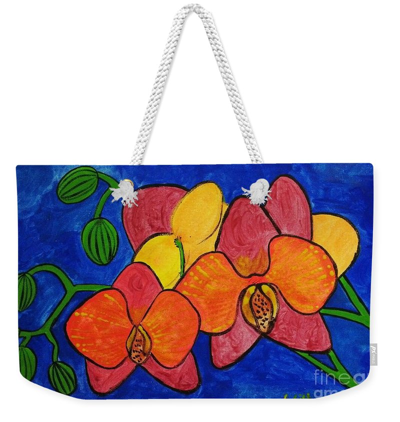 Flowers Weekender Tote Bag featuring the painting Orchids by Gurkirat Gill