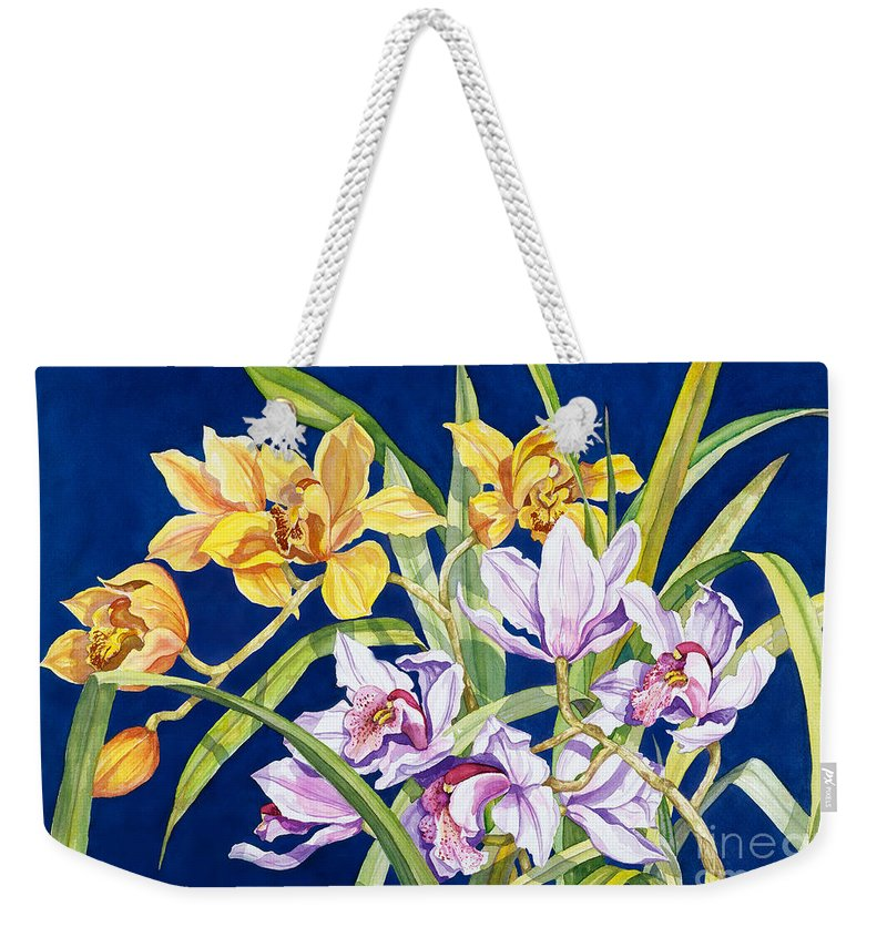 Orchids Weekender Tote Bag featuring the painting Orchids In Blue by Lucy Arnold