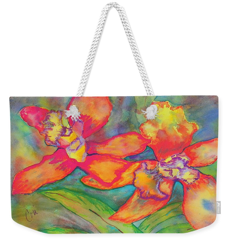 Flowers Weekender Tote Bag featuring the painting Orchids In Paradise by Cori Solomon