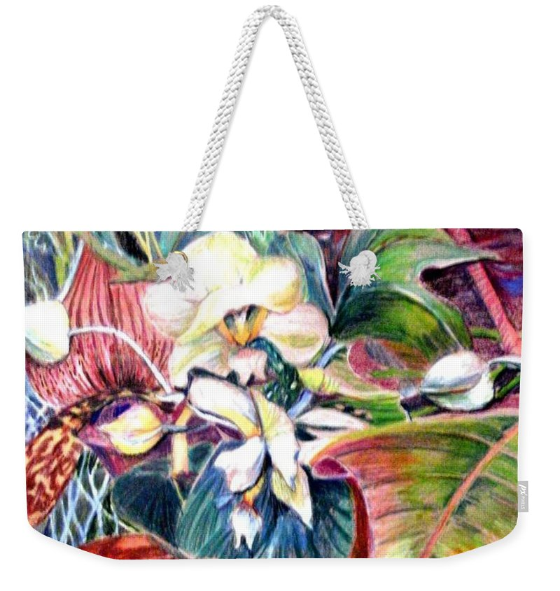 Valentines Weekender Tote Bag featuring the drawing Orchids In White by Mindy Newman