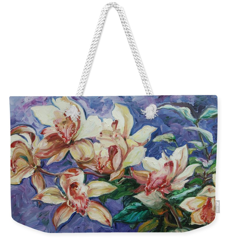 Flowers Weekender Tote Bag featuring the painting Orchids by Rick Nederlof