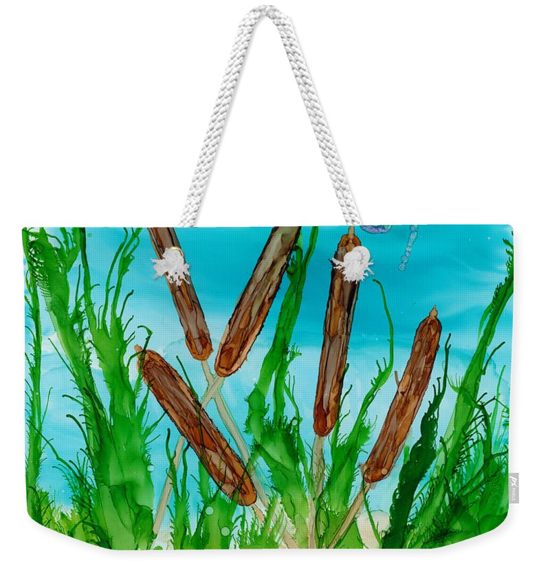 Cattails And Dragonflies Weekender Tote Bag featuring the painting Oregon Cattails by Debora Boudreau
