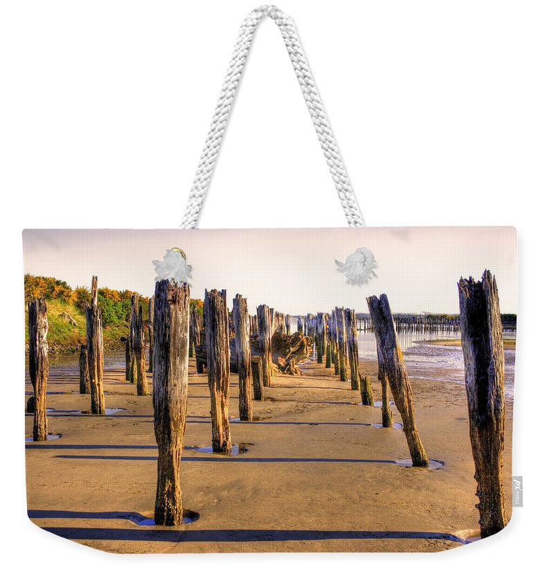 Landscape Weekender Tote Bag featuring the photograph Oregon Coast Pilings by Lee Santa