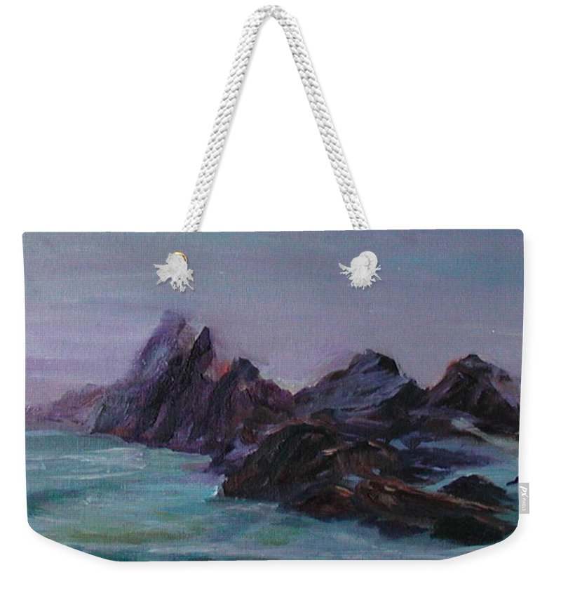 Impressionism Weekender Tote Bag featuring the painting Oregon Coast Seal Rock Mist by Quin Sweetman