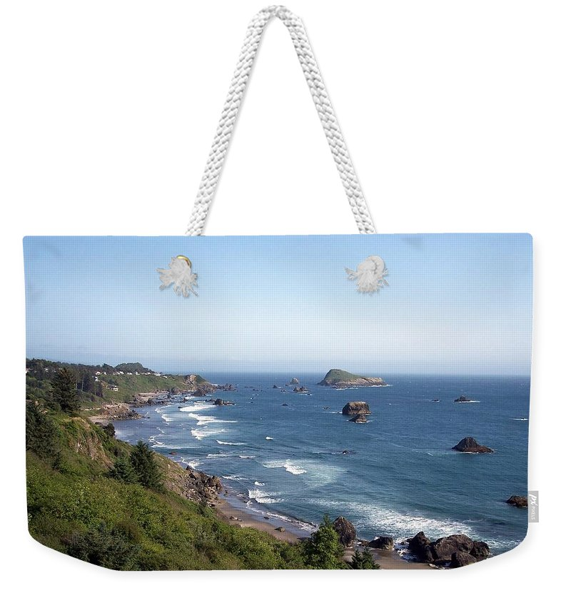 Oregon Weekender Tote Bag featuring the photograph Oregon Coastline by Adrienne Wilson