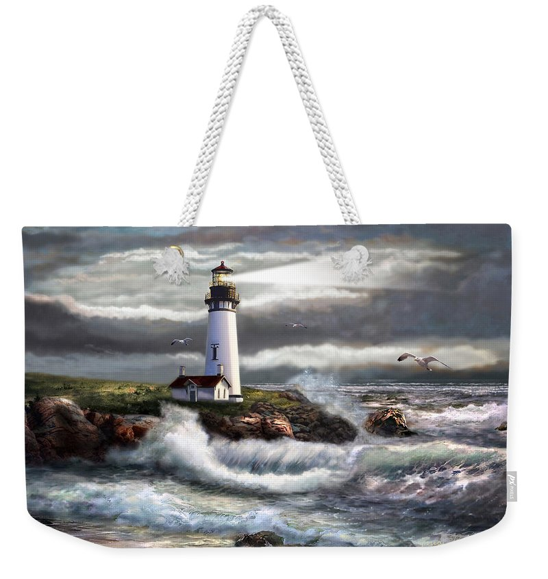 Seascape Art Weekender Tote Bag featuring the painting Oregon Lighthouse Beam Of Hope by Regina Femrite