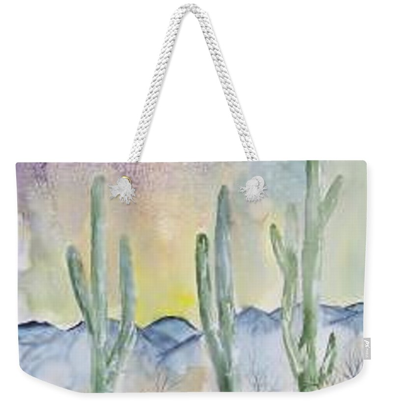 Impressionistic Weekender Tote Bag featuring the painting Organ Pipe Cactus Desert Southwestern Painting Poster Print by Derek Mccrea