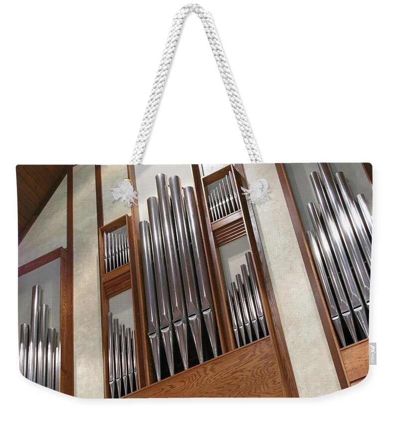 Music Weekender Tote Bag featuring the photograph Organ Pipes by Ann Horn