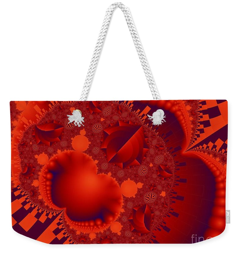 Fractal Image Weekender Tote Bag featuring the digital art Organics Over Geometrics In Red by Ron Bissett