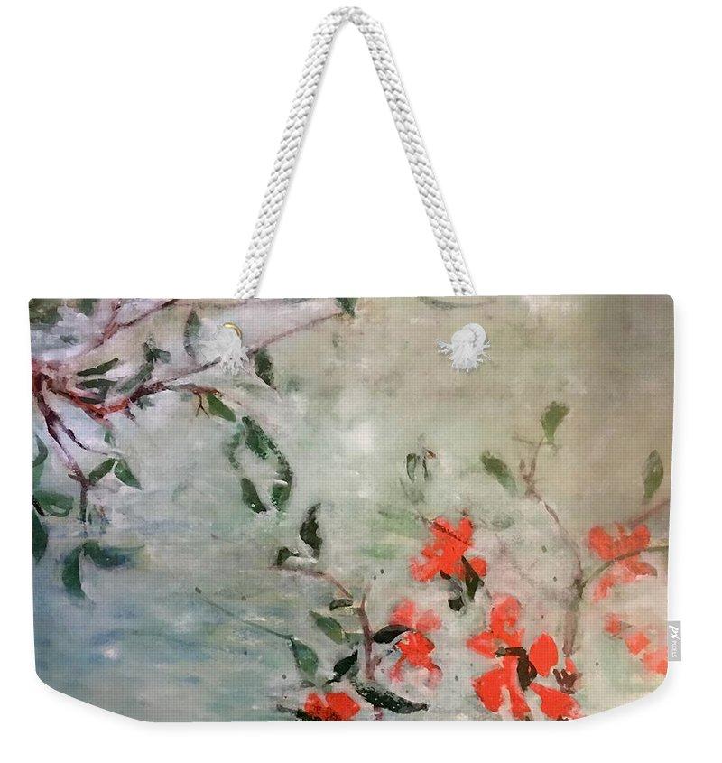 Weekender Tote Bag featuring the painting Oriental Orange Flowers by Ralph Herrington Farabee