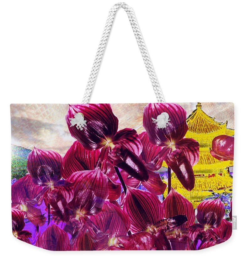 Far East Weekender Tote Bag featuring the digital art Oriental Orchid Garden by Seth Weaver