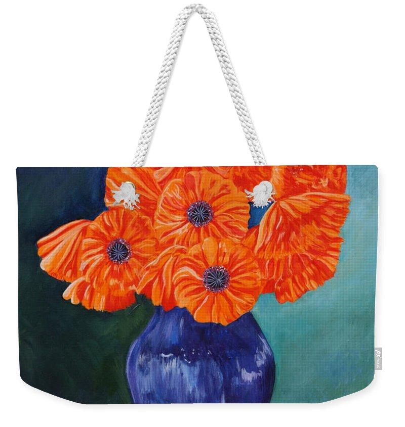 Oriental Weekender Tote Bag featuring the painting Oriental Poppies In Blue by PJ Wetak