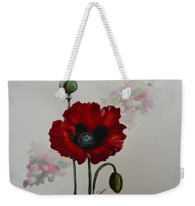 Floral Poppy Red Flower Weekender Tote Bag featuring the painting Oriental Poppy by Karin Dawn Kelshall- Best